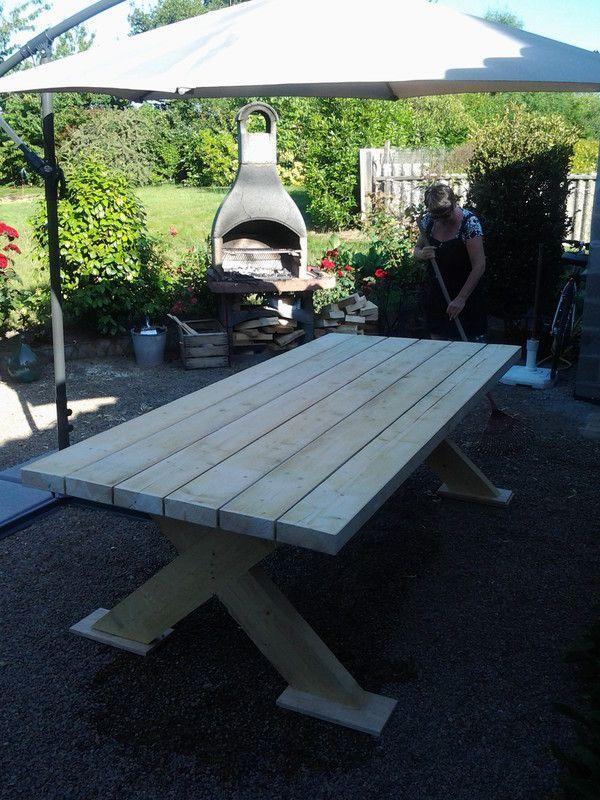 fabrication table de jardin bois. Black Bedroom Furniture Sets. Home Design Ideas